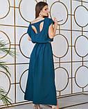 Зеленое длинное платье с декоративной спинкой, фото 3