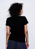Черная летняя трикотажная футболка с нашивками LOVE в пайетках, бусинах и стразах S, фото 3
