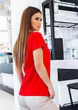 Красная трикотажная футболка с блестящим декором, фото 4