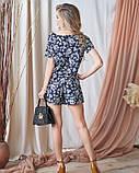 Цветочный черный комбинезон с шортами, фото 3