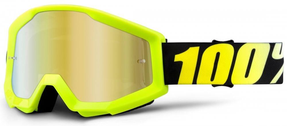 Мото окуляри дитячі 100% STRATA JR Goggle Neon Yellow - Mirror Lens Gold