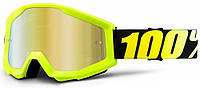Мотоочки детские 100% STRATA JR Goggle Neon Yellow - Mirror Gold Lens