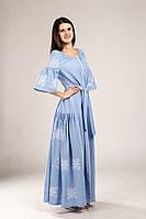 Платье голубое с вышивкой женское, размер XS(36),S(38), M(40), L(42)