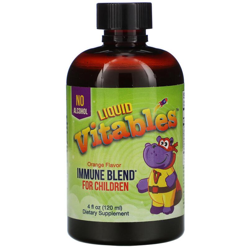 Vitables детская жидкая добавка для укрепления иммунитета, без спирта, со вкусом апельсина. 120 мл.