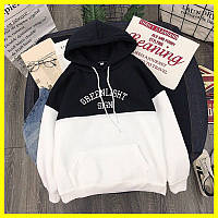 Женское худи Greenlight не брендовое размер (onesize, уни, oversize) черное, белое на флисе
