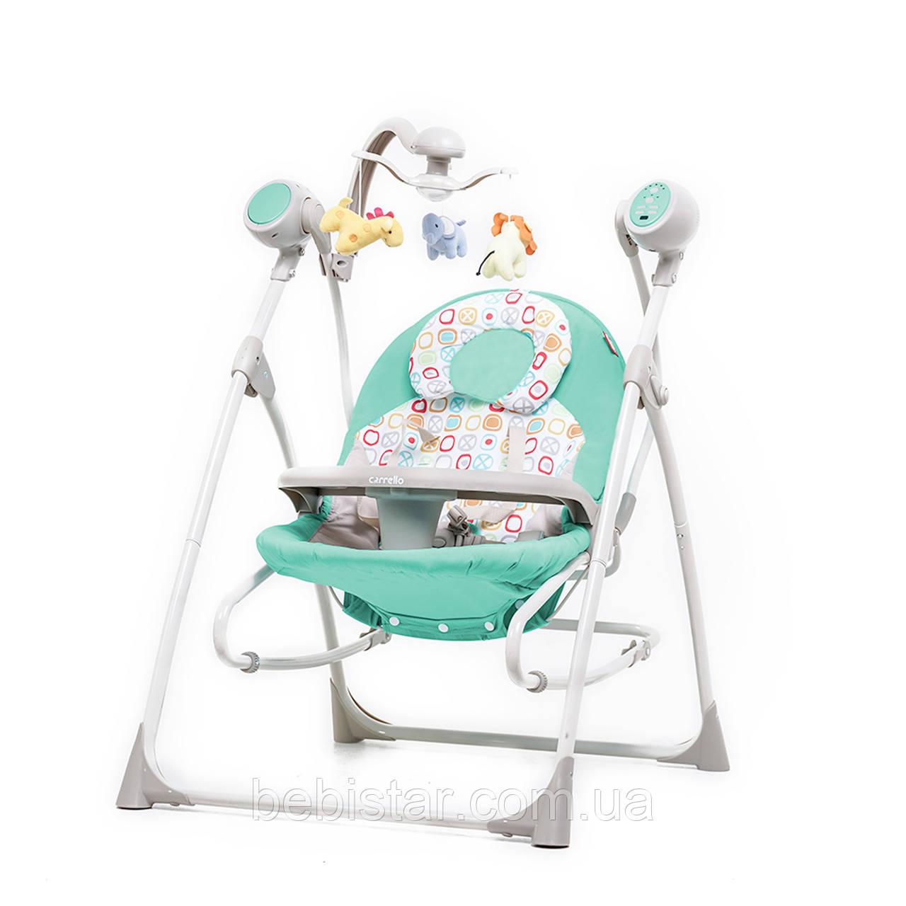 Кресло-качалка шезлонг 3в1 мятная Carrello Nanny с пультом съемный столик вкладыш вращающийся мягкие игрушки