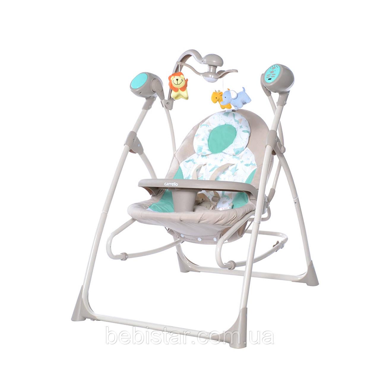 Крісло-гойдалка шезлонг 3в1 м'ятно-бежева Carrello Nanny пульт знімний столик вкладиш обертаються іграшки