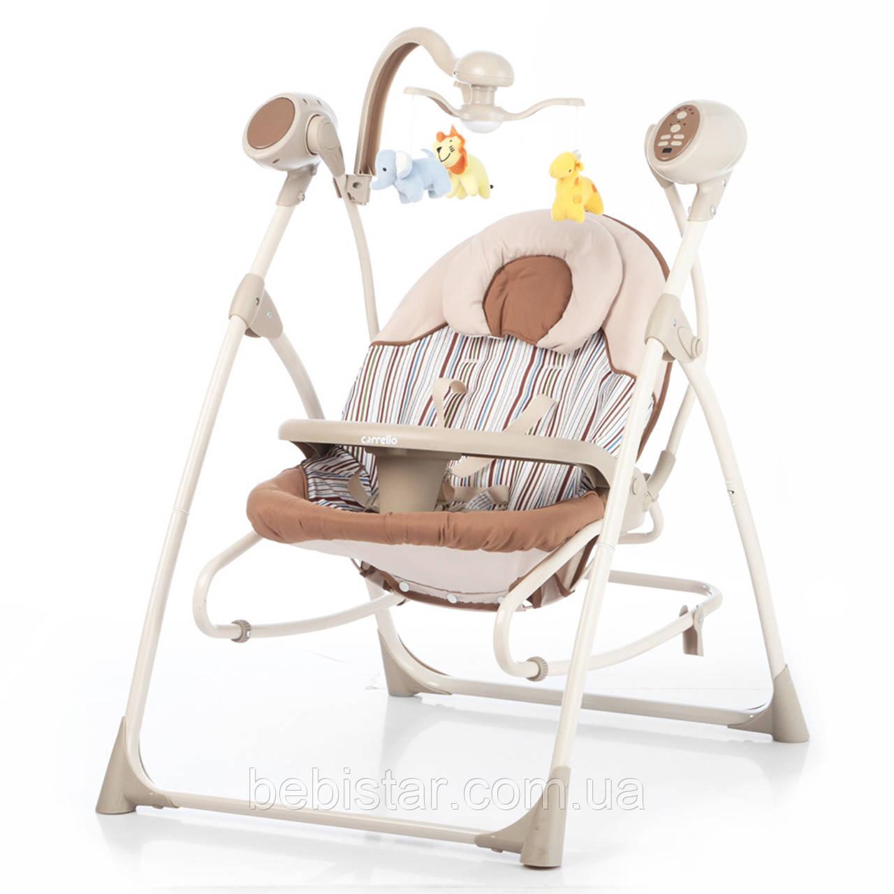 Кресло-качалка шезлонг 3в1 шоколадно-бежевая Carrello Nanny пульт съемный столик вкладыш вращающийся игрушки