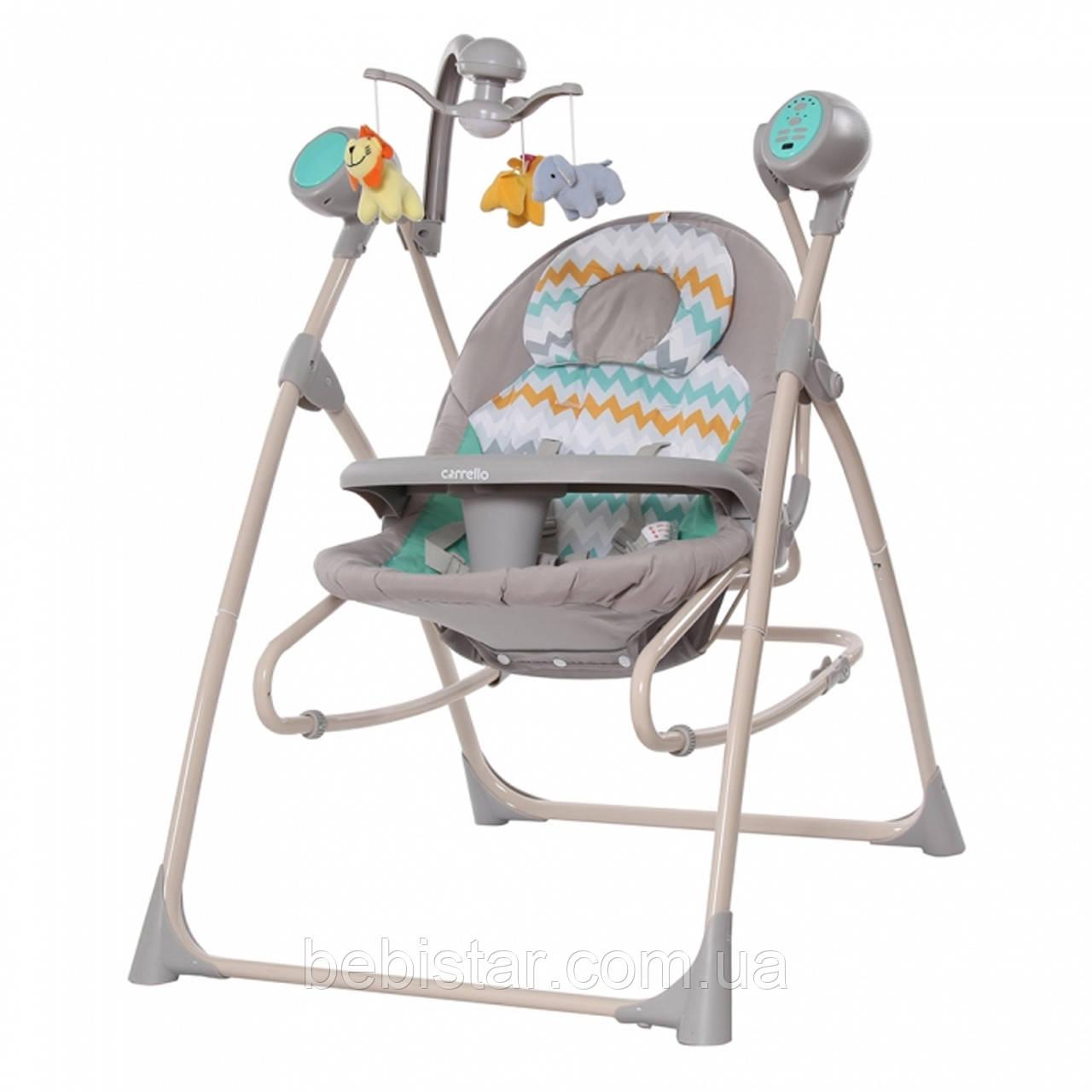 Кресло-качалка шезлонг 3в1 серая с бирюзой Carrello Nanny пульт съемный столик вкладыш вращающийся игрушки