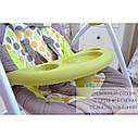 Кресло-качалка шезлонг 3в1 серая с бирюзой Carrello Nanny пульт съемный столик вкладыш вращающийся игрушки, фото 6