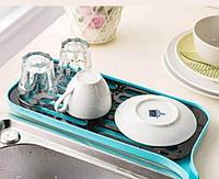 Сушилка посудная со сливным носиком (голубой)