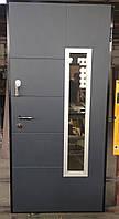 Входная дверь Sarmak Суприм крашенная накладка со стеклопакетом комплектация Гранд с терморазрывом 3 контура