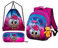 Ранец школьный рюкзак Winner One R2-162 + пенал + сумка + брелок мишка принт с совой детский для девочек