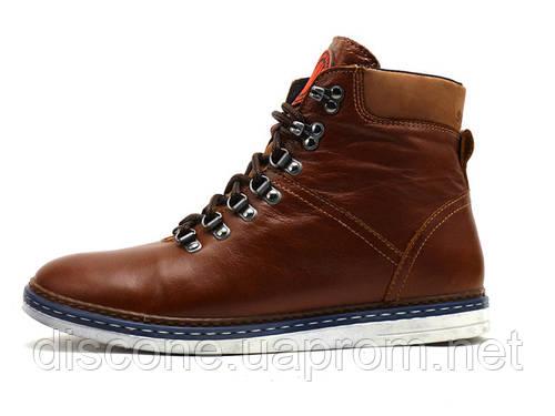 Ботинки Samas Barcode, мужские, натуральная кожа, на меху, коричневые