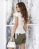 Молочная блуза без рукавов на запах XL, фото 2