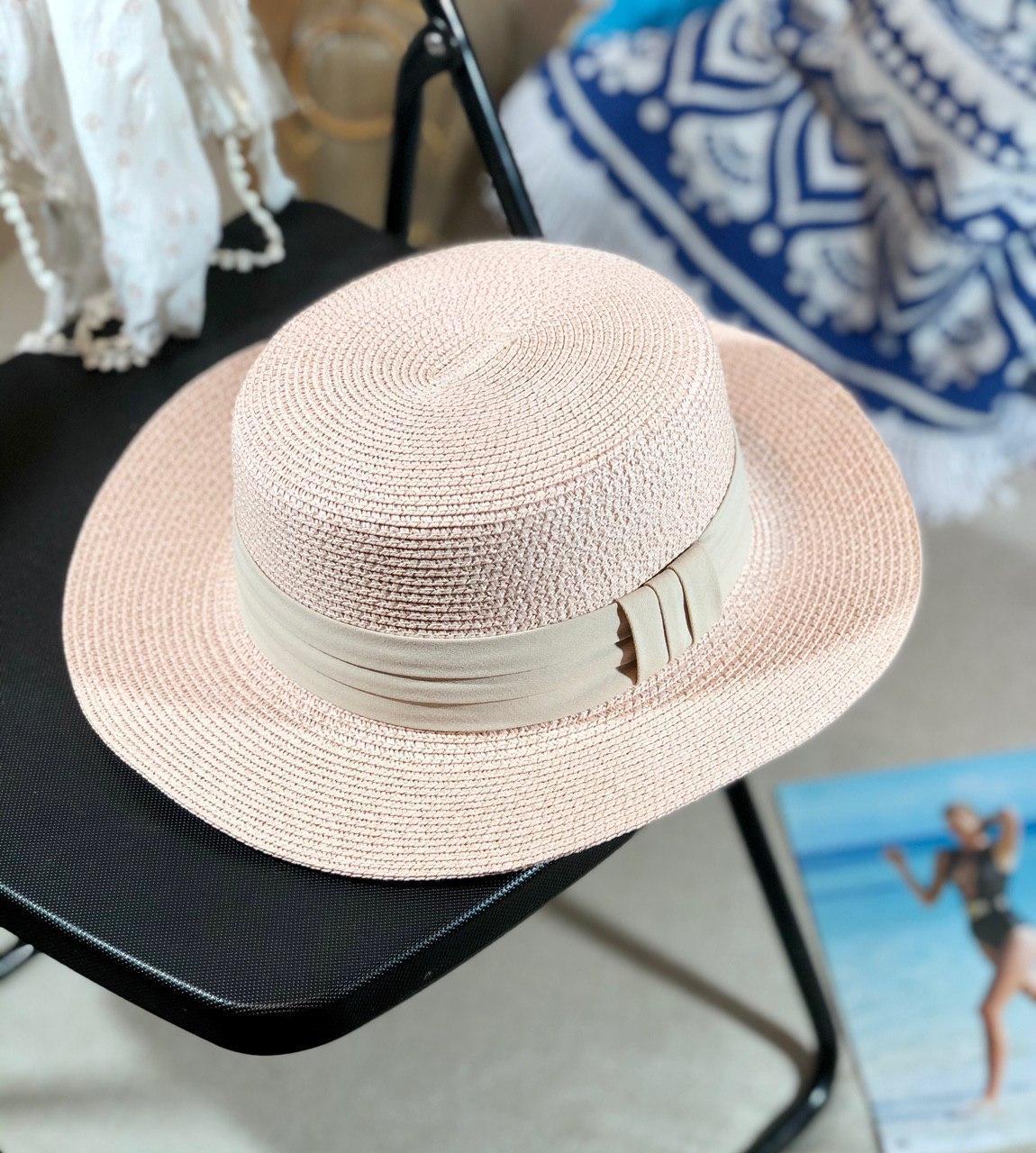 Женская легкая летняя шляпа-канотье с лентой размер 56-58