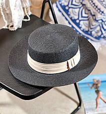 Женская легкая летняя шляпа-канотье с лентой размер 56-58, фото 3