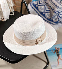 Женская легкая летняя шляпа-канотье с лентой размер 56-58, фото 2