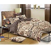 Постельное белье Газета, размер евро. Комплект постельного белья. Ткань Бязь Голд: 100% Хлопок