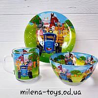 Детский набор посуды, 3 предмета, Синий трактор