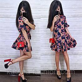 Женское платье-трапеция с рюшами (в расцветках)