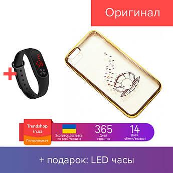 Чехол на iPhone 6/6s силиконовый прозрачный, с ракушкой в камушках, с бампером под металл COV-041