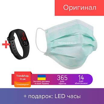 Маска защитная для лица Zuihushi одноразовая трехслойная 50 штук Синий (20133)