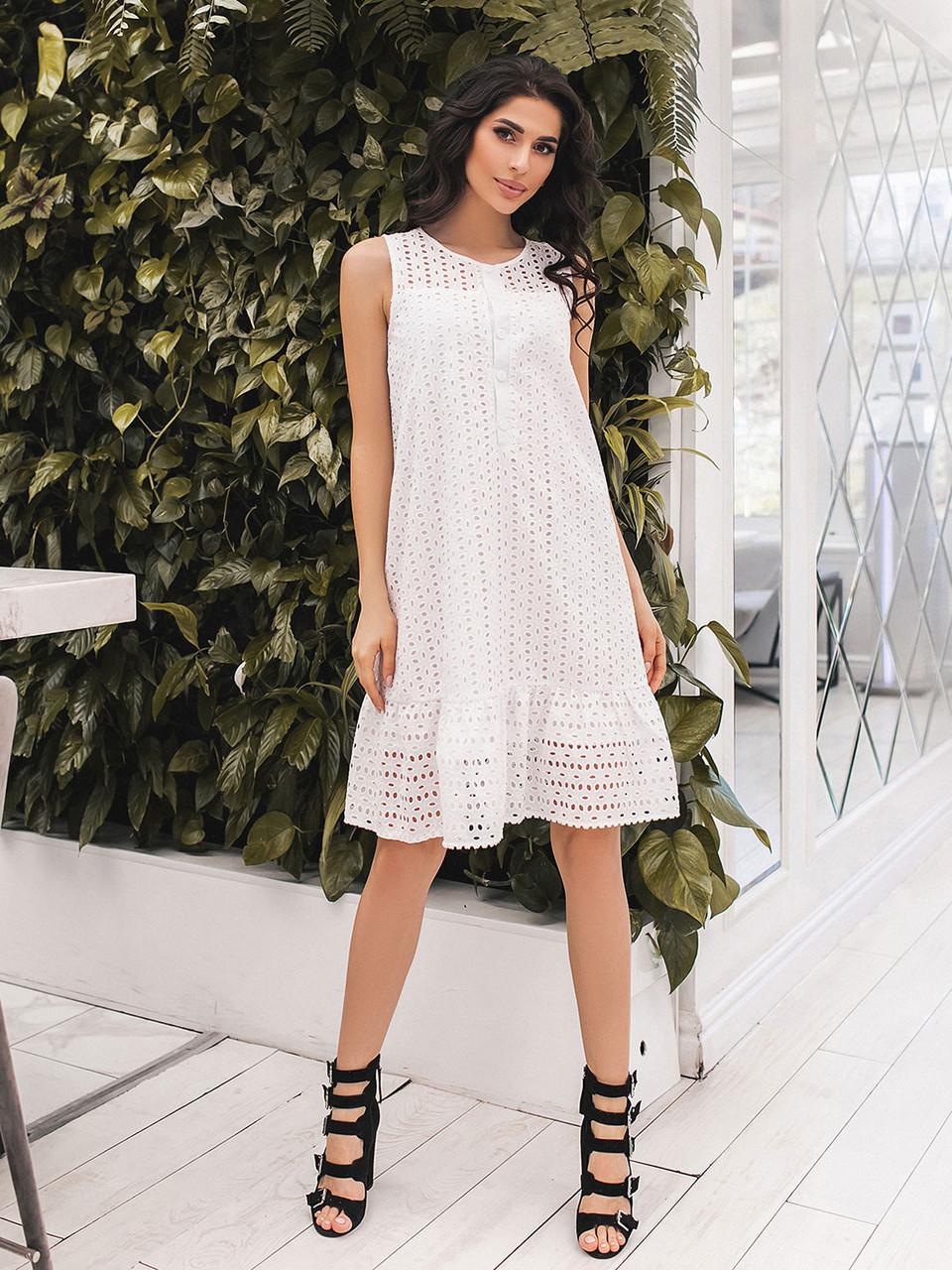 Белое летнее расклешенное Платье