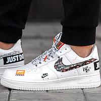 Женские и мужские кроссовки Nike Air Force 1 Low Just Do It, найк аир форсы белые, найк аір форси