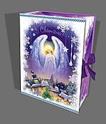 Упаковка праздничная новогодняя из картона Рождественский Ангел с лентой, на вес до 1кг, оптом