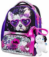 Ранец школьный рюкзак детский ортопедический для девочек DeLune 10-001 + мешок + пенал + мишка принт собака