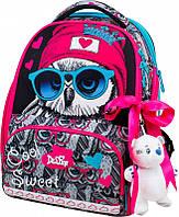 Ранец школьный рюкзак детский ортопедический для девочек DeLune 10-003 + мешок + пенал + мишка принт сова