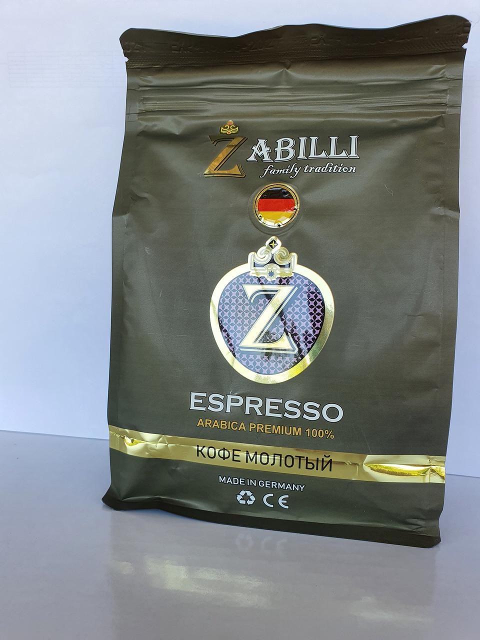 Кава мелена Zabilli Espresso 100% арабіка середньої обжарювання 250 грам