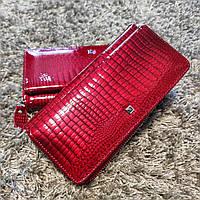 Червоний лаковий шкіряний гаманець (кошелек) на змійці для великої кількості карток Horton