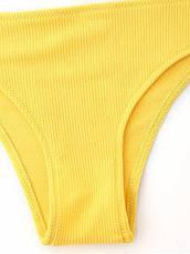 Купальник раздельный бразилиана Топ майкой 2020 Купальник жёлтый яркий молодёжный - 125-201, фото 3