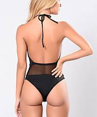 Купальник слитный пландж сексуальный Купальник чёрный сеточка стильный с вырезом - 125-33, фото 2