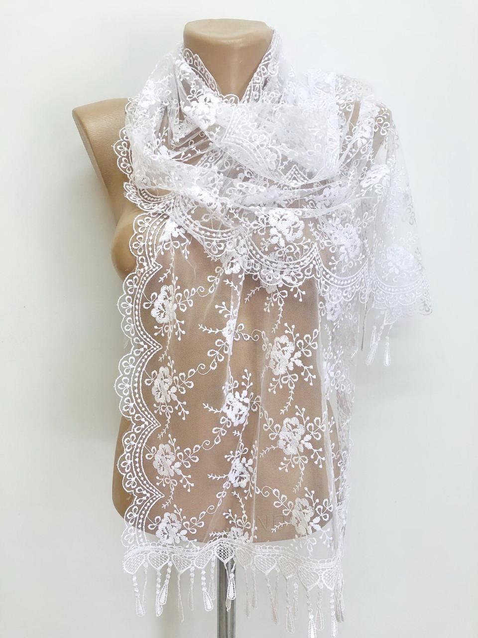 Шарф белый ажурный фатиновый свадебный церковный 150024