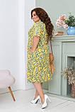 Легке літнє плаття жіноче великого розміру 50,52,54,56, короткий рукав, з кишенями, колір Жовтий, фото 3