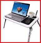 Столик подставка для ноутбука с кулером E-Table раскладной складной столик для планшета с охлаждением, фото 2