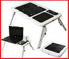 Столик подставка для ноутбука с кулером E-Table раскладной складной столик для планшета с охлаждением, фото 3