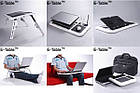 Столик подставка для ноутбука с кулером E-Table раскладной складной столик для планшета с охлаждением, фото 6