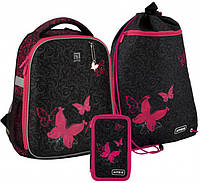 Рюкзак укомплектованный Kite Education Butterfly tale 35x26x13.5 см 17 л Черный (SET_K20-555S-4)