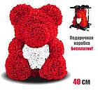 Мишка из 3D роз 40 см в красивой подарочной упаковке мишка Тедди из роз, фото 2