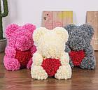 Мишка из 3D роз 40 см в красивой подарочной упаковке мишка Тедди из роз, фото 6