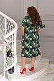 Летнее легкое платье женское большого размера 50,52,54,56, короткий рукав, с карманами, цвет Зеленое с цветами, фото 3