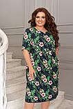 Летнее легкое платье женское большого размера 50,52,54,56, короткий рукав, с карманами, цвет Зеленое с цветами, фото 2