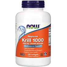 "Масло кріля NOW Foods ""Neptune Krill 1000"" омеда-3, 1000 мг (120 гельових капсул)"