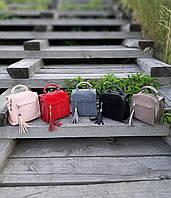 Женская сумка рюкзак пудра красная замша натуральная и эко кожа