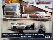 Коллекционная машинка Hot Wheels Team Transport Aero Liftи Nissan Skyline GT-R (BNR34)