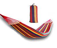 Гамак с планкой х/б ткань для дачи сада отдыха планка 40см полотно 190 х 80 см выдерживает до 150 кг с чехлом